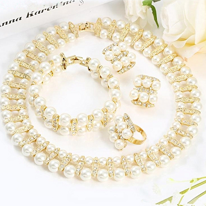 Euro-American best-selling pearl suit jewelry bride vogue gold the color  inset a diamond item Ms  Lian the handicraft 18 k atmosphere