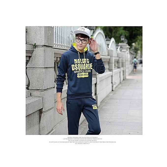 Fashion BLUE 2018 Spring And Autumn New Men s Europe And The United States Sports  Fashion Sweater Sets Of Hooded Tide Suit 23f104c93072b