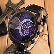 Luxury Mens Analog Sport Steel Case Quartz Leather Wrist Watch Blue