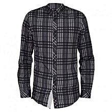 Grey Checked Long Sleeved Mens Casual Shirts