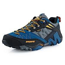 Spring Autumn Men Outdoor Hiking Mountain Climbing Shoes Breathable Mesh men Trekking Shoes Anti-skid Sports Shoes - Blue