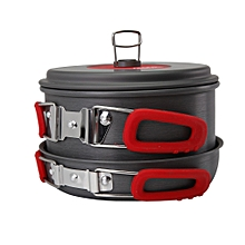 Alocs Outdoor Portable 2-3 Persons Cookware Portable Picnic Pan Pot Bowl Utensil Cooking Set