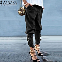 ZANZEA Autumn Women Trousers Pantalon Femme Casual Loose Elastic Waist Pants Leisure  Green Harem Pants