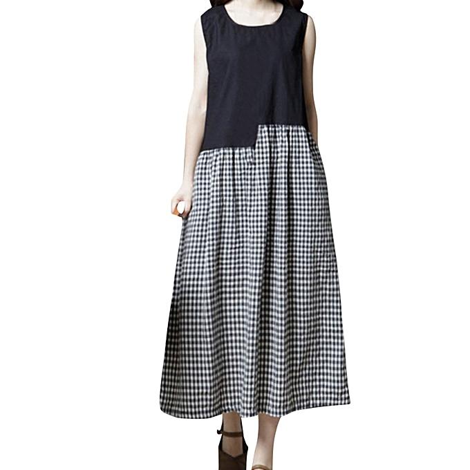 4886935f9a27be Hiamok Women Sleeveless O Neck Plaid Pocket Cotton Linen Loose Bohe Casual  Dress M ...