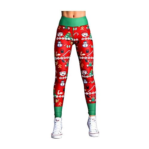 Generic Women Fashion Slim Narrow Leg High Waist Long Pants Sport Yoga Fitness Christmas Striped Printed Leggings Gym Pants Exercise Running Trousers