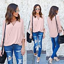 Generic Women  V Neck Chiffon Long Sleeve Tops T-Shirt Ladies Blouse A1