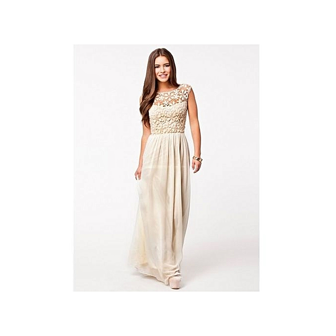 Women s Elegant Backless Bridesmaids Dresses Hollow Out Lace Long Maxi  Evening Dress - Beige b53036656
