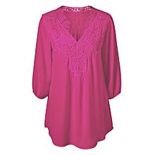 Plus Size Sweet Crochet Spliced Tunic Blouse-ROSE RED