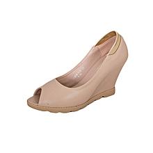 Apricot Women's Peep Toe Contoured Wedge Heel