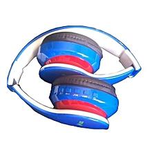 Blue Headphones - Bluetooth/FM/SD BLUE - Blue & Red
