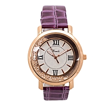 Purple Shiny PU Leather Strap Watch.