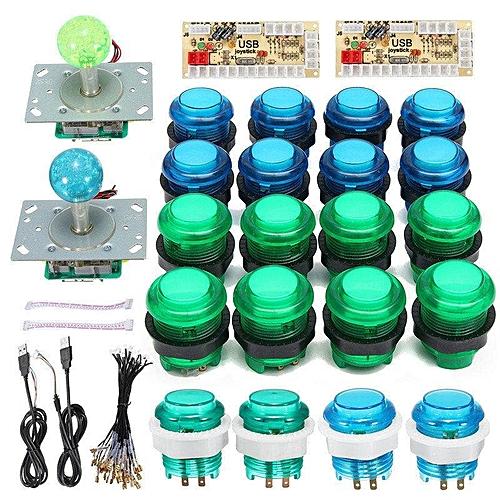 20 DIY LED Arcade Game Buttons + 2 Joysticks + 2 USB Encoder Kit Game Parts  Set