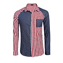 Men's Long Sleeve Striped Star Pocket Casual Button Down Shirt ( Red )