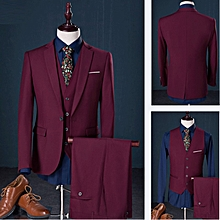 Men's Elegant Three-piece Suit Formal Suits Blazer Vest And Trousers - Wine Red
