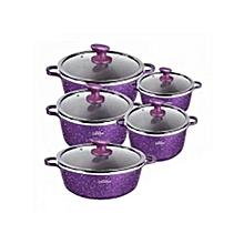 Non-Stick Cooking Pots - 10 Pieces - Purple