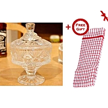 Clear Crystal Glass Sugar Dish - Pineapple Pattern (+ Free Gift Hand Towel).