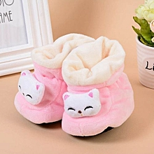 Refined Newborn Baby Toddler Warm Shoes Printing Cat Baby Soft Bottom Antiskid Shoes-Pink