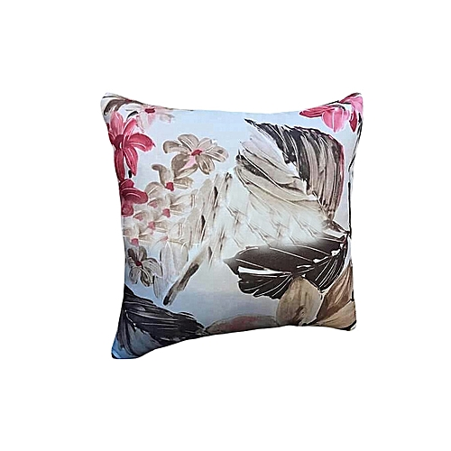 Flowery Fibre Made Throw Pillow-Multicolored