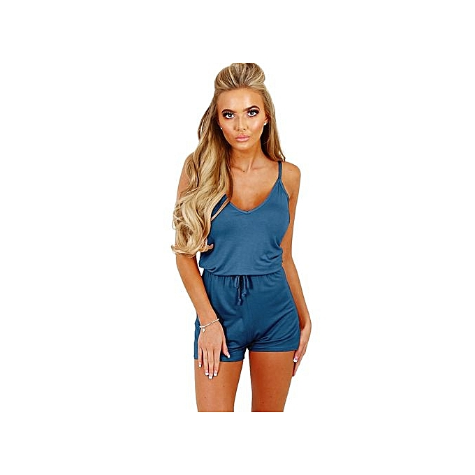 eaf0f8e404 bluerdream-Womens Holiday Casual Mini Playsuit Ladies Jumpsuit Summer Beach  Rompers-Blue ...