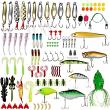 106pcs All Depth Mixed Fishing Lure Sets Hard Baits/Soft Lures Fake Artificial Bait With Box