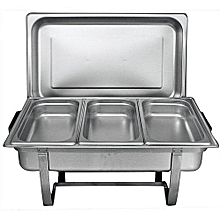 Signature Chafing Dish Stainless Steel Triple Tray Buffet Catering - Silver .
