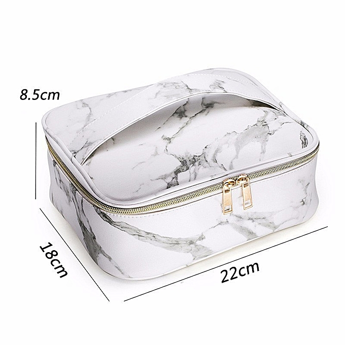 db6d87326e61 Marble Travel Cosmetic Bag Big Luxury Makeup Cosmetic Bags Neceser Mujer  Maquillaje PU Leather Cosmetic Bag Toiletry Bag(A style white)