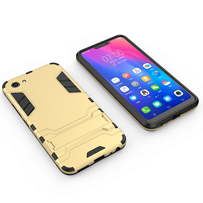 For VIVO-Y83 Silicon Frame Hard Plastic Shockproof Phone Case With Holder .
