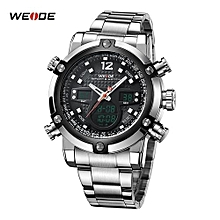 Watches, 5205 Sport Watches Stainless Steel Band Waterproof Quartz Big Dial Clock Men Wristwatch - Silver