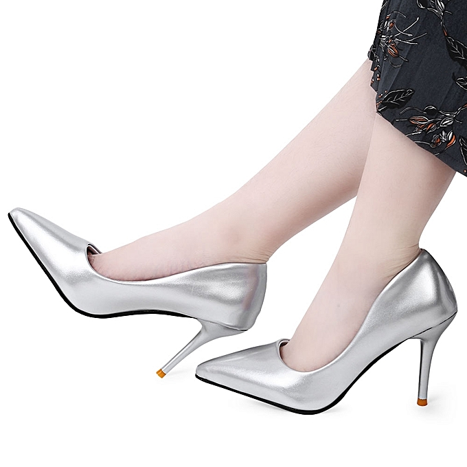9f7017efd38 ... Stylish Pointed Toe Ladies Thin High Heel Shoes-SILVER - SILVER - 4 ...