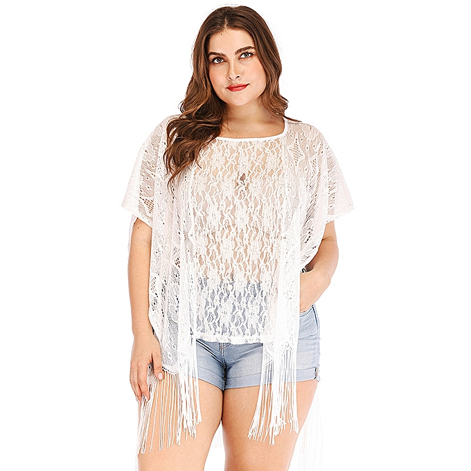 311da91819 Sexy Women Plus Size Beach Cover Up Floral Lace Fringed Sheer Bikini Top Swimsuit  Coverups White