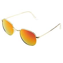 Uv400 Uv Protection Metal Frame Ac Lens Sunglasses (gold + Purple)