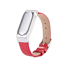 New Adjustable PU Leather Strap With Metal Case For  Smart Bracelets - Silver Red