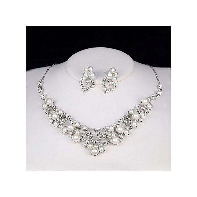 Buy Generic Love Pearl Necklace Earrings Pendants Set Wedding