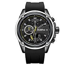 2086 Watch Men Sport Chronograph Silicone Strap Quartz Movement Watch Waterproof Casual Clock Wristwatch for Male