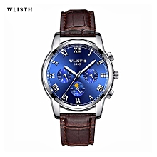 WLISTH  Men's Watch Luxury Top Brand Fashion Watches Relogio Masculino Military Army Watches Analog Quartz Wristwatches Leather 509