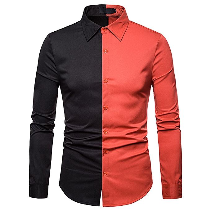 dd0e2b1e5345 Fashion Men's Autumn Winter Casual Color Patch Slim Long Sleeve Shirt Top  Blouse Menstye