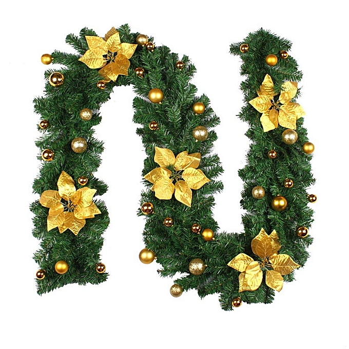 2 7m Decorated Garland Illuminated With Lights Christmas Decoration Xmas Garland For Fireplace Stairs Gold Baubles Flowers Xmas Tree Decoration Gold
