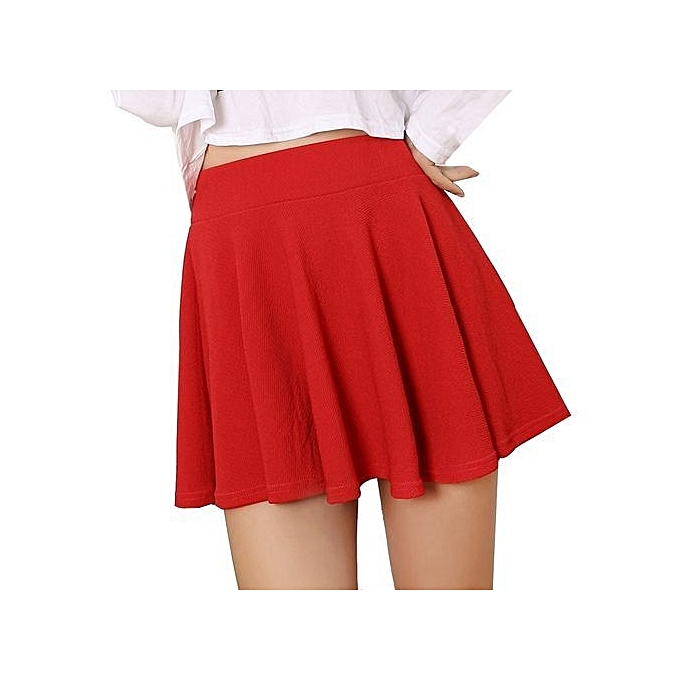471c023a3 bluerdream-Women Lady High Waist Plain Skater Flared Pleated Short Mini  Skirt Shorts Skirts-