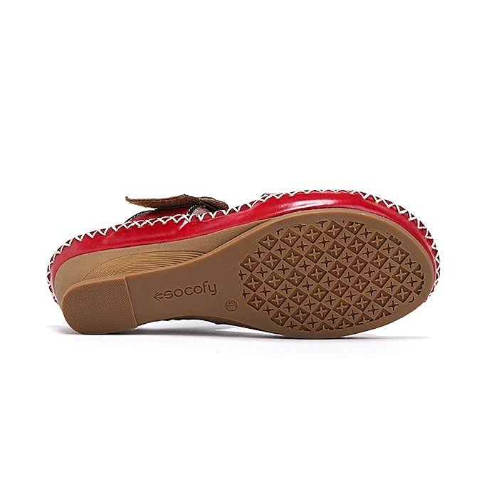 8ed63acc460 ... SOCOFY Bohemian Genuine Leather Adjustable Hook Loop Printing Forest  Slip On Sandals-EU ...
