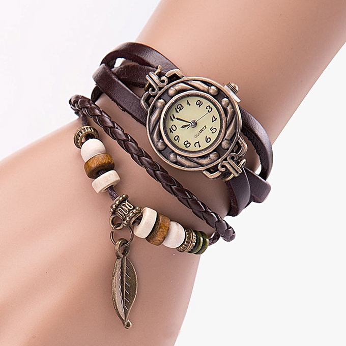 Henoesty Women Girl Vintage Watches, Bracelet Wristwatches Leaf Pendant Coffee Coffee