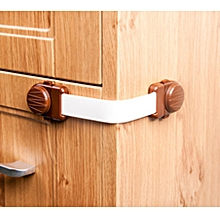 2pcs Drawer Lock Kid Home Safety Fridge Cabinet Door Lock - coffee color