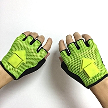 1 Pair Gravity Sensor Turn Signal Half Finger Smart Bicycle Cycling Running Gloves LED Light Automatic Induction Green L