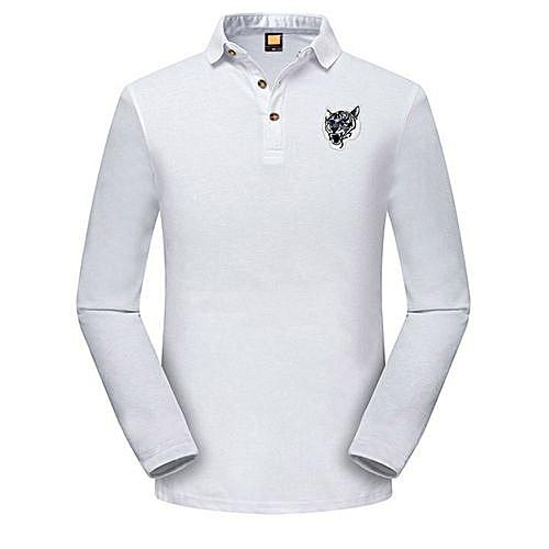 a168f65ac7c784 Fashion Ranicken Fashion Men's Casual Slim Long Sleeve Embroidery T Shirt  Polo Shirt Top Blouse -White