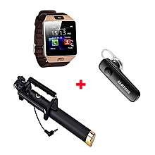 DZ09 Smart Watch Phone With Free Bluetooth headset and selfie stick -  Gold Bronze