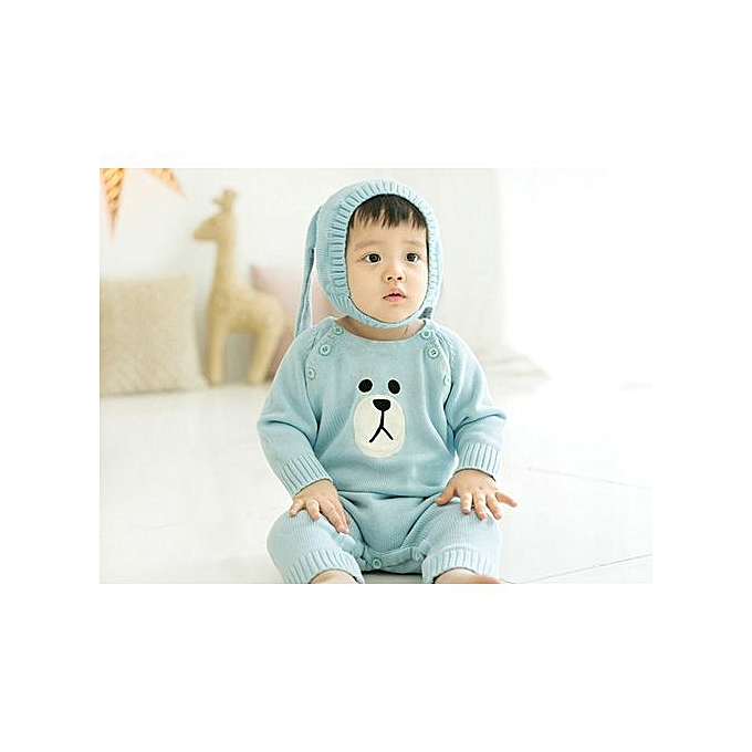 0530aa61f9f Baby Beanie For Boys Girls Cap Cotton Rabbit Ear Knitted Children Hats -Blue