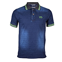 Blue Men's Denim Green Collar Green Stripped Polo Shirts
