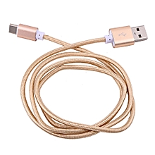 Type C Braided Data Sync Charging USB 3.1 Cable For Smartphone Gold