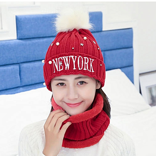 899b0903 Winter Style Wool Ladies Scarf Hat Suit, Color Matching Thick and Warm Wool  Scarf Knitted Hat(Red)