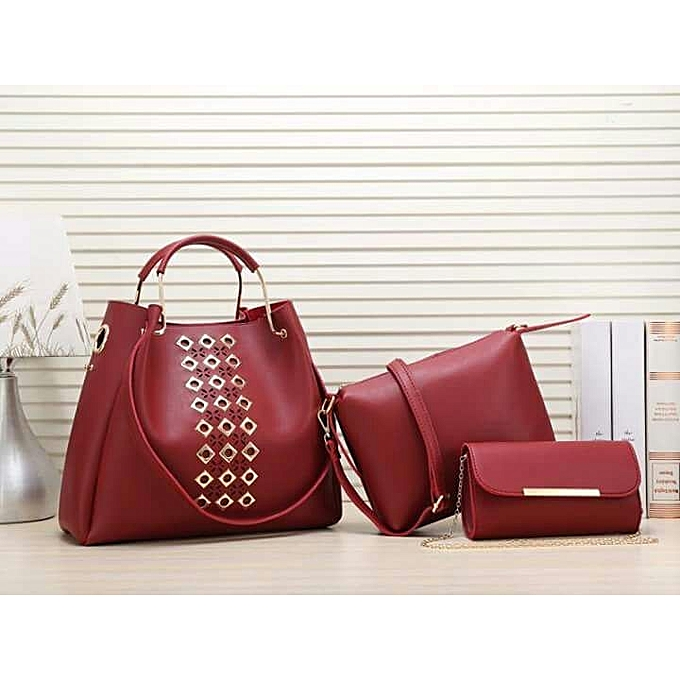 aa782e9340f 3-in-1 PU Leather Ladies Tote Handbag - Red