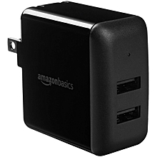 AmazonBasics Dual-Port USB Wall Charger (2.4 Amp) - Black
